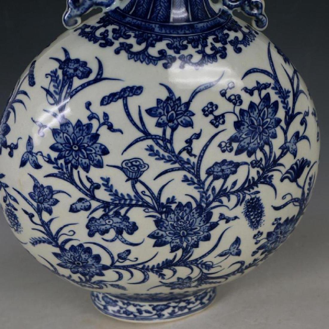 A Big Blue and White Porcelain Flat Bottle - 5