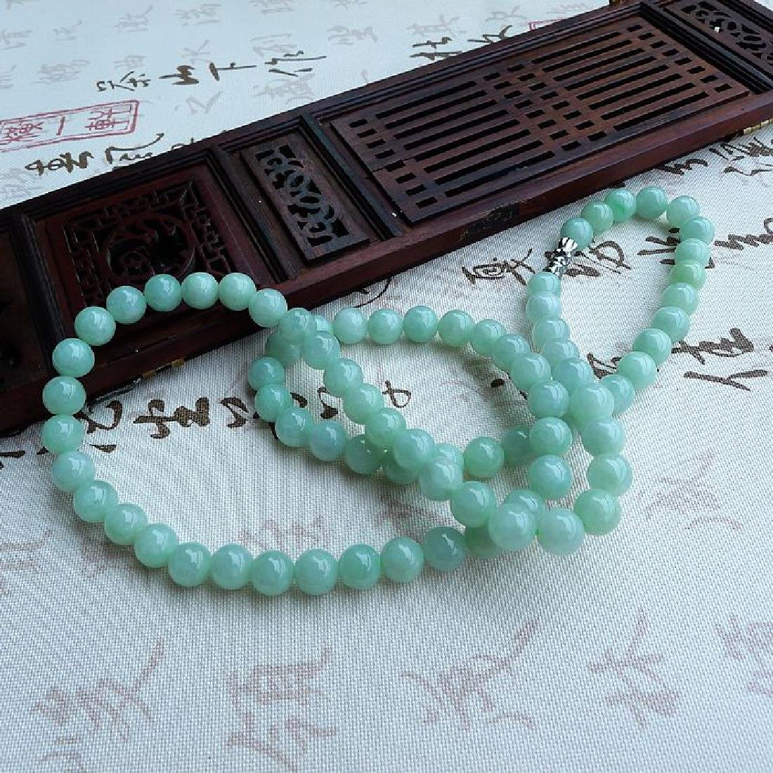 A Nice Nature Jadeite Necklace with Certificate - 2