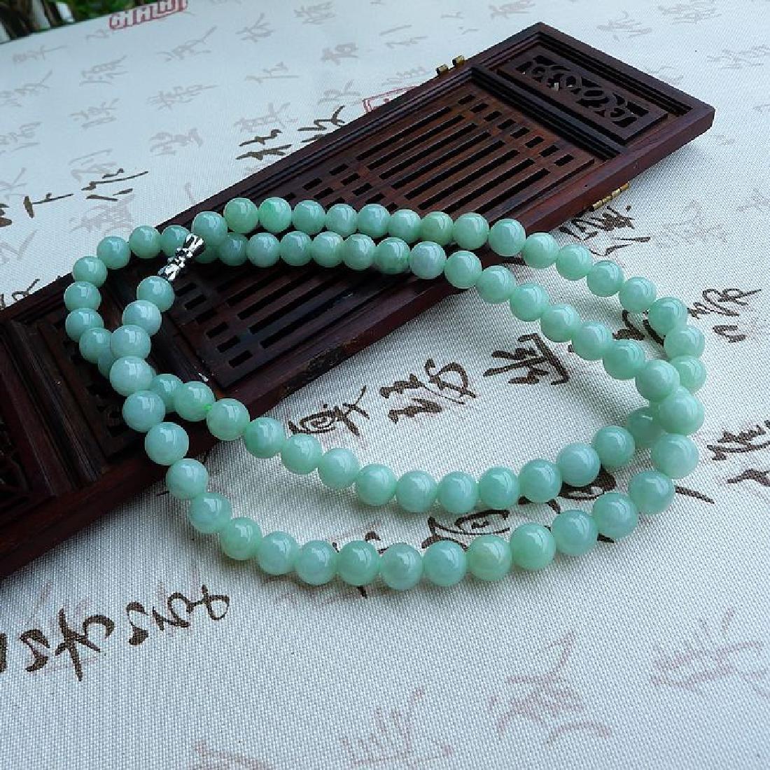 A Nice Nature Jadeite Necklace with Certificate - 3