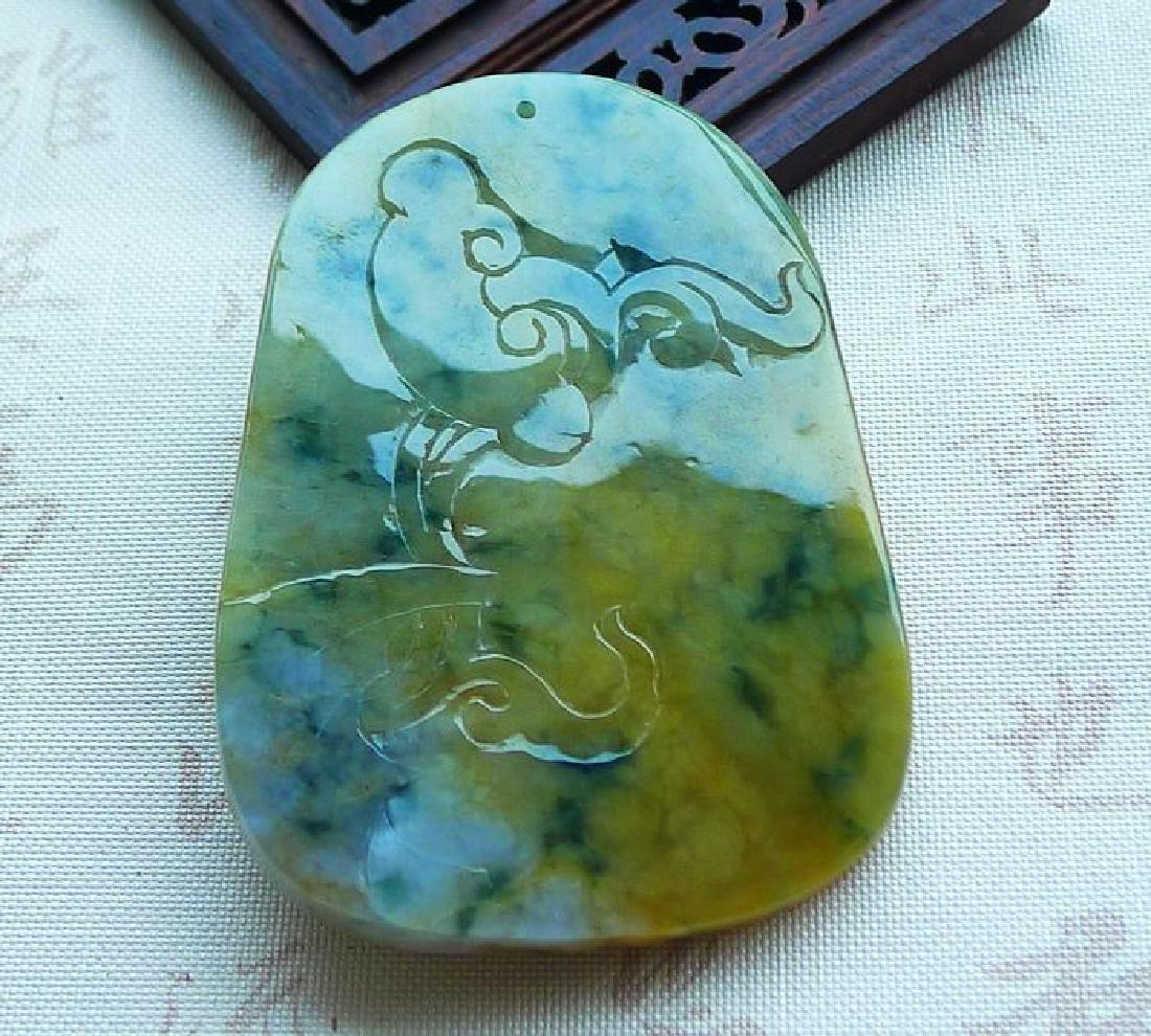 A Big Nice Nature Jadeite Dragon Pendant with - 6