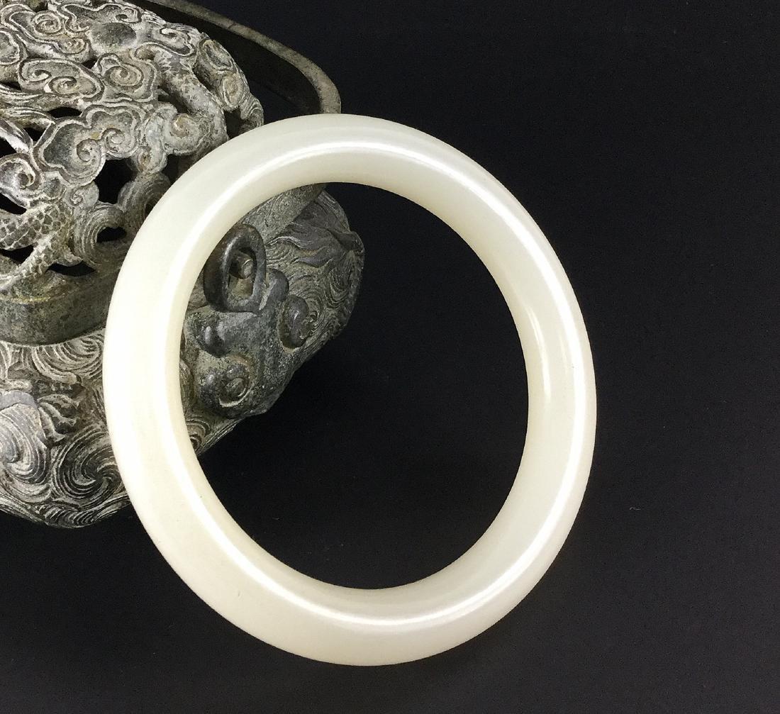 A Nice Hetian White Jade Bangle - 2