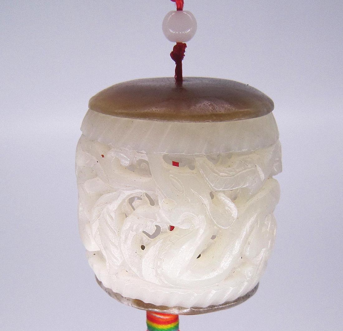 A Nice Hetian White Jade Dragon Incense Box
