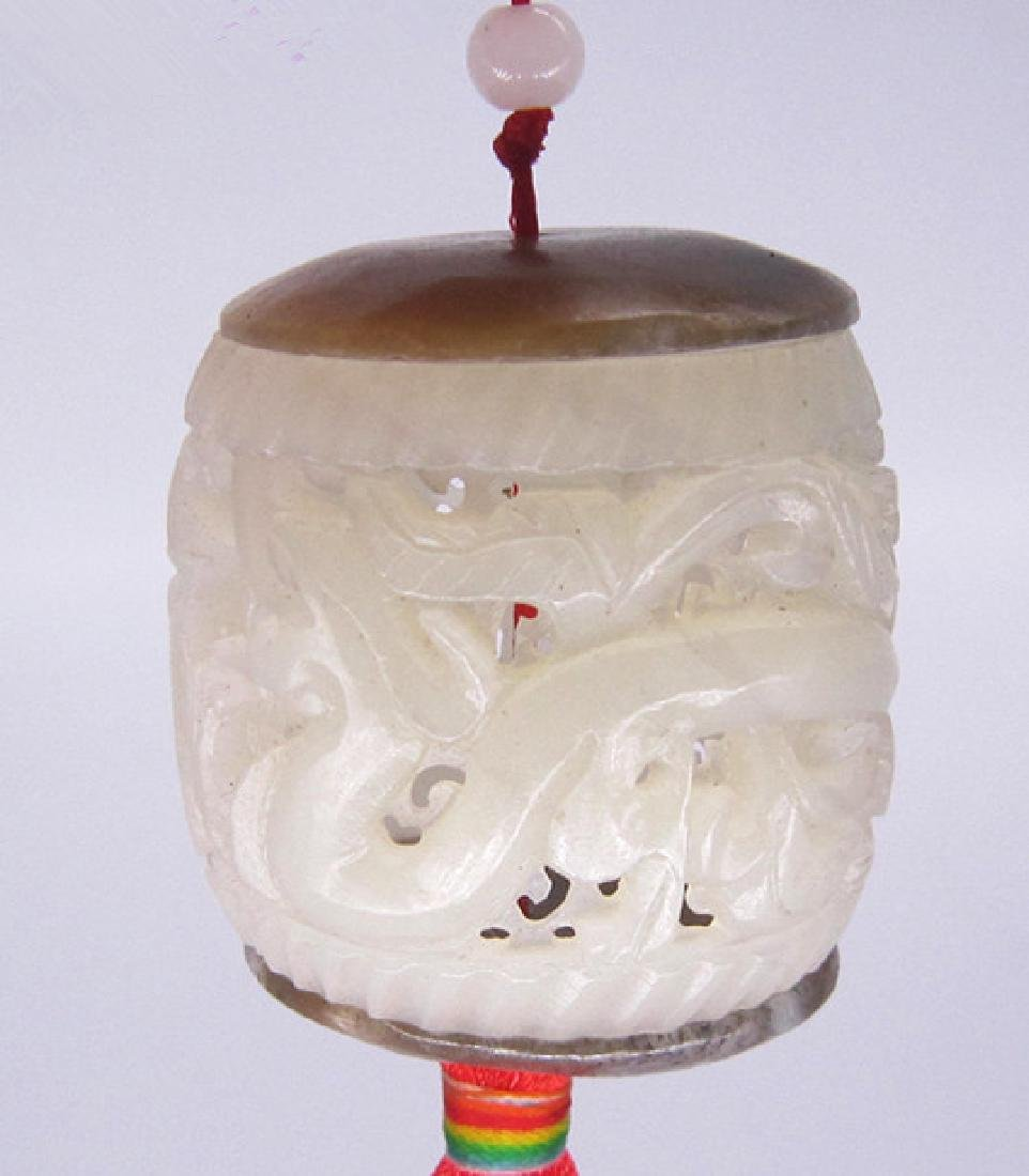 A Nice Hetian White Jade Dragon Incense Box - 2