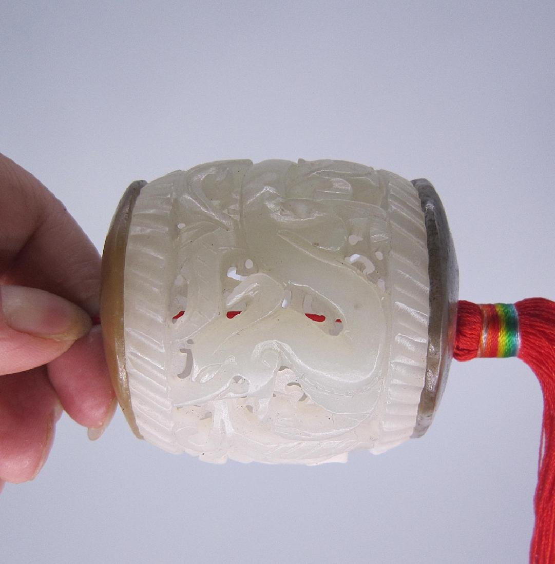 A Nice Hetian White Jade Dragon Incense Box - 5