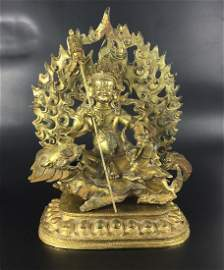 A Big Tibetan Gilt Bronze God of Wealth Statue