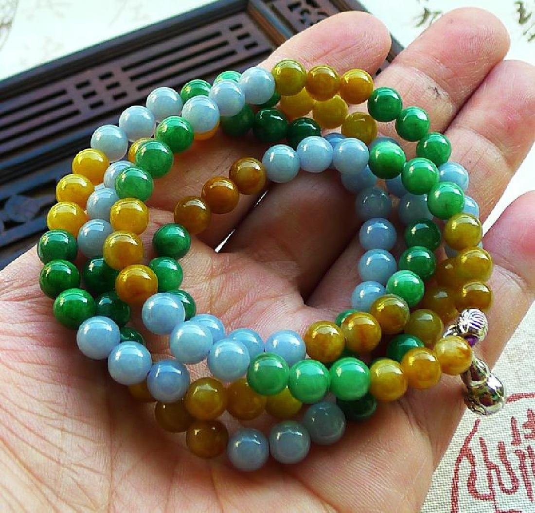 One Nature Jadeite Three-color Necklace with