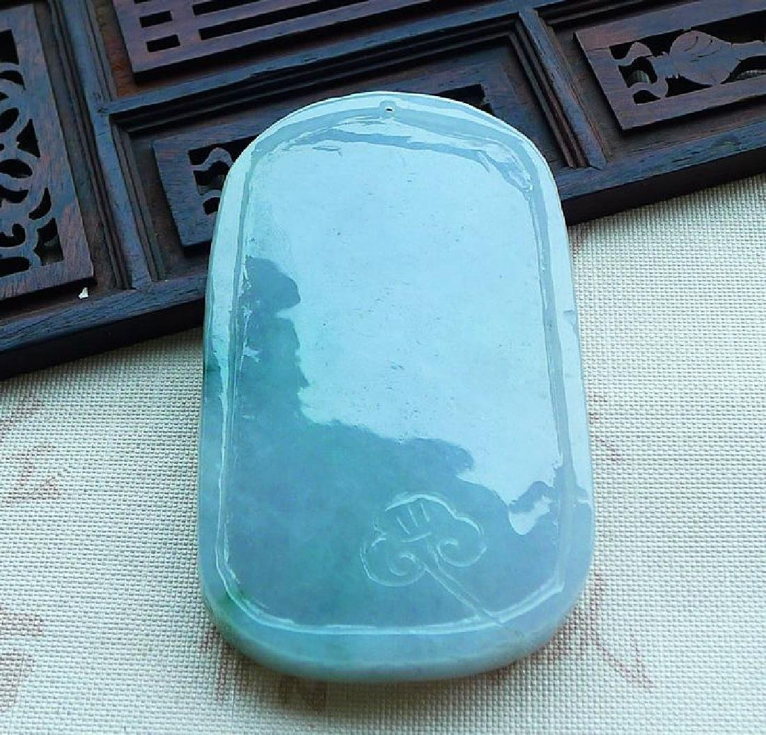 One Nature Jadeite Guanyin Pendant with Certificate - 9