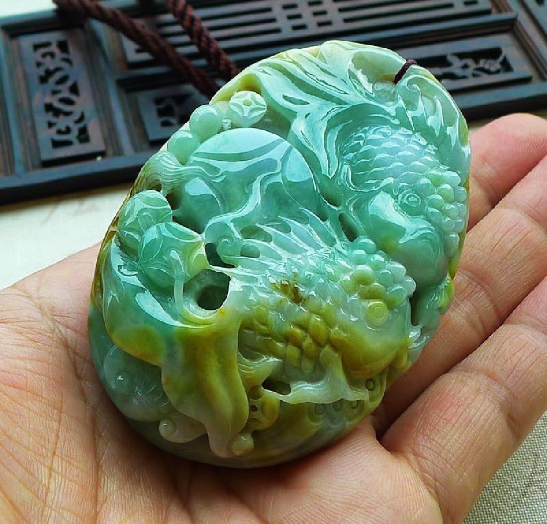 One Nature Jadeite Three-colore Pendant with - 4