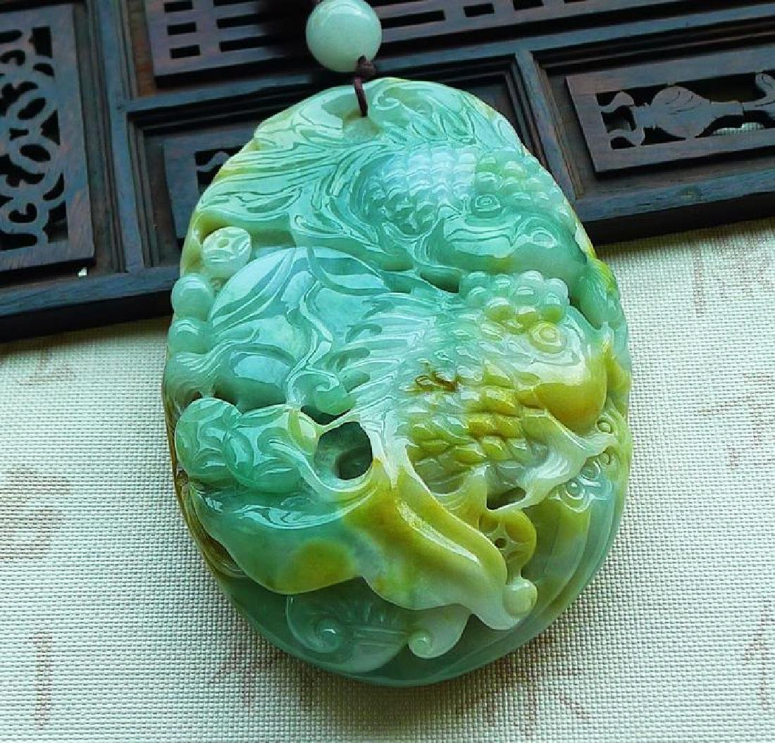 One Nature Jadeite Three-colore Pendant with - 5
