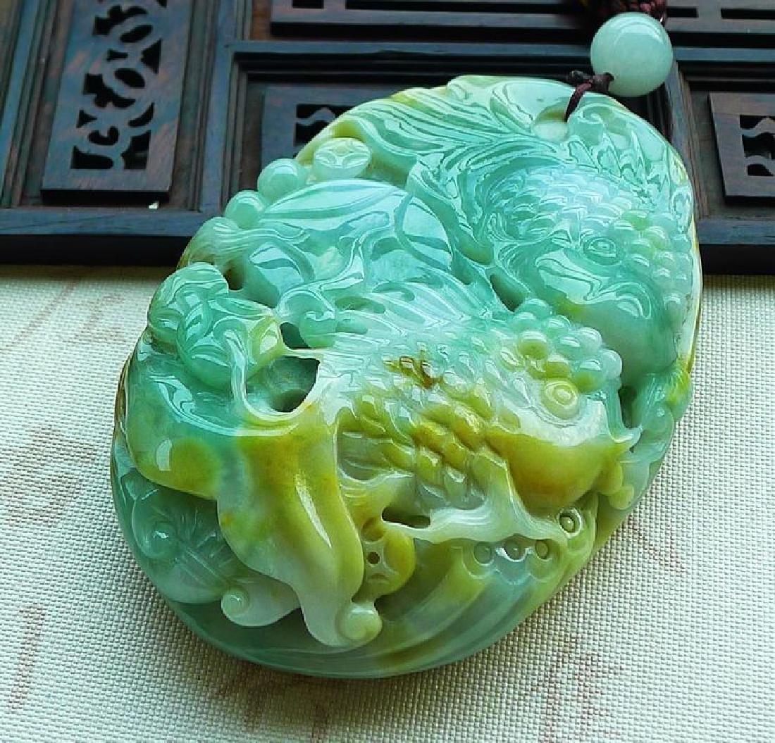 One Nature Jadeite Three-colore Pendant with - 6