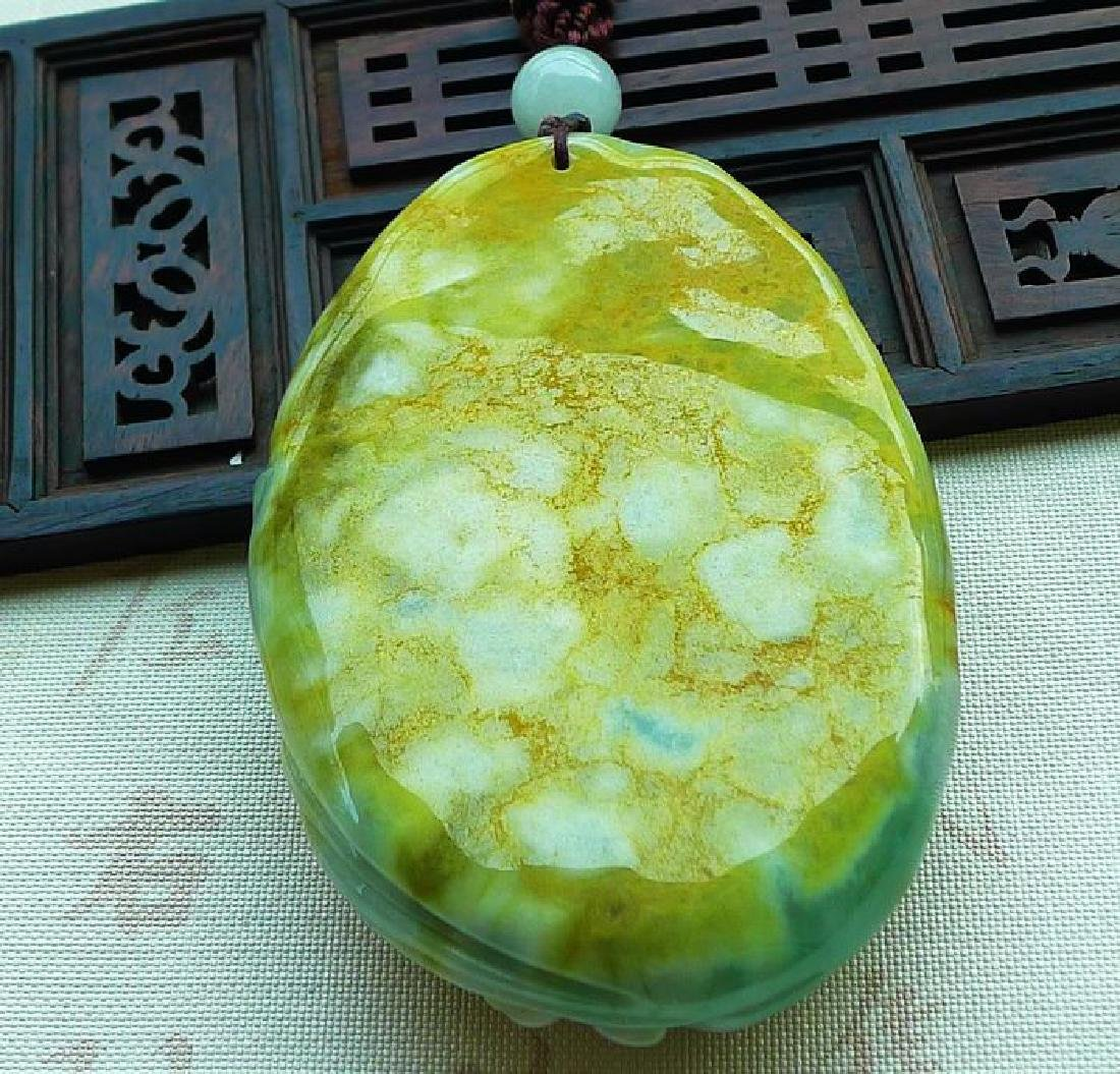 One Nature Jadeite Three-colore Pendant with - 8