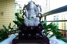 One Nature Jadeite Guanyin Statu with Certificate