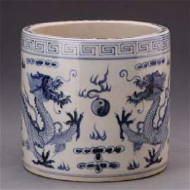 A Nice Blue And White Dragon Brush Pot
