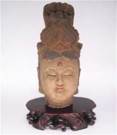 A Nice Old Colored Wood Buddha Head