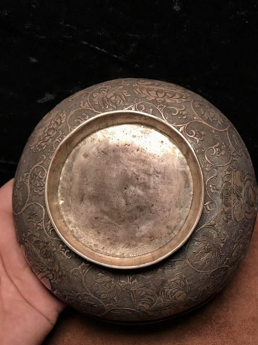 Qing Dynasty,For Buddha,Pure Silver Bowl Carve Engraves