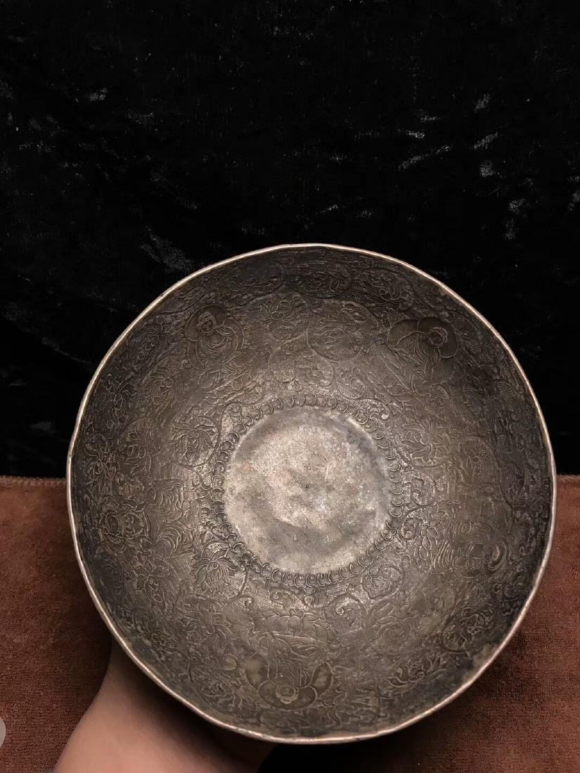 Qing Dynasty,For Buddha,Pure Silver Bowl Carve Engraves - 2