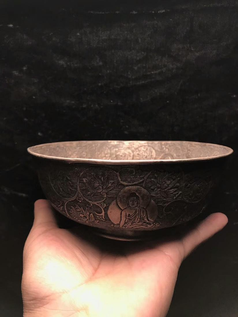 Qing Dynasty,For Buddha,Pure Silver Bowl Carve Engraves - 3