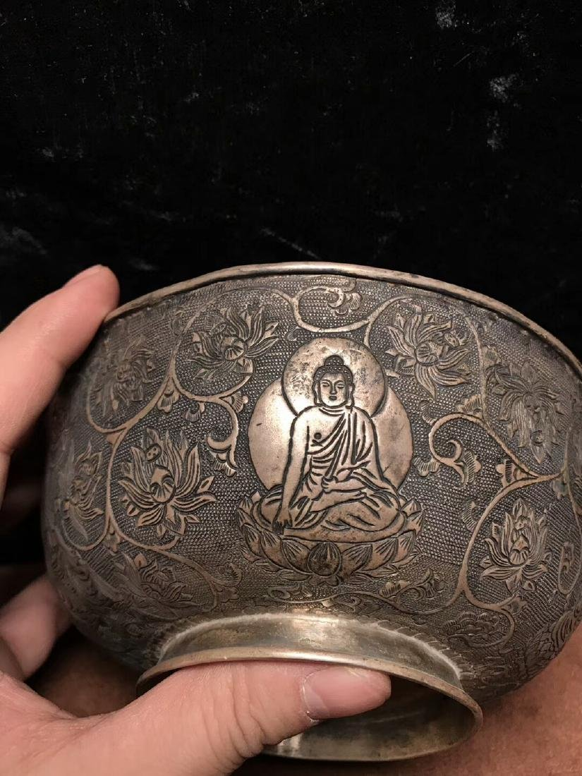 Qing Dynasty,For Buddha,Pure Silver Bowl Carve Engraves - 4