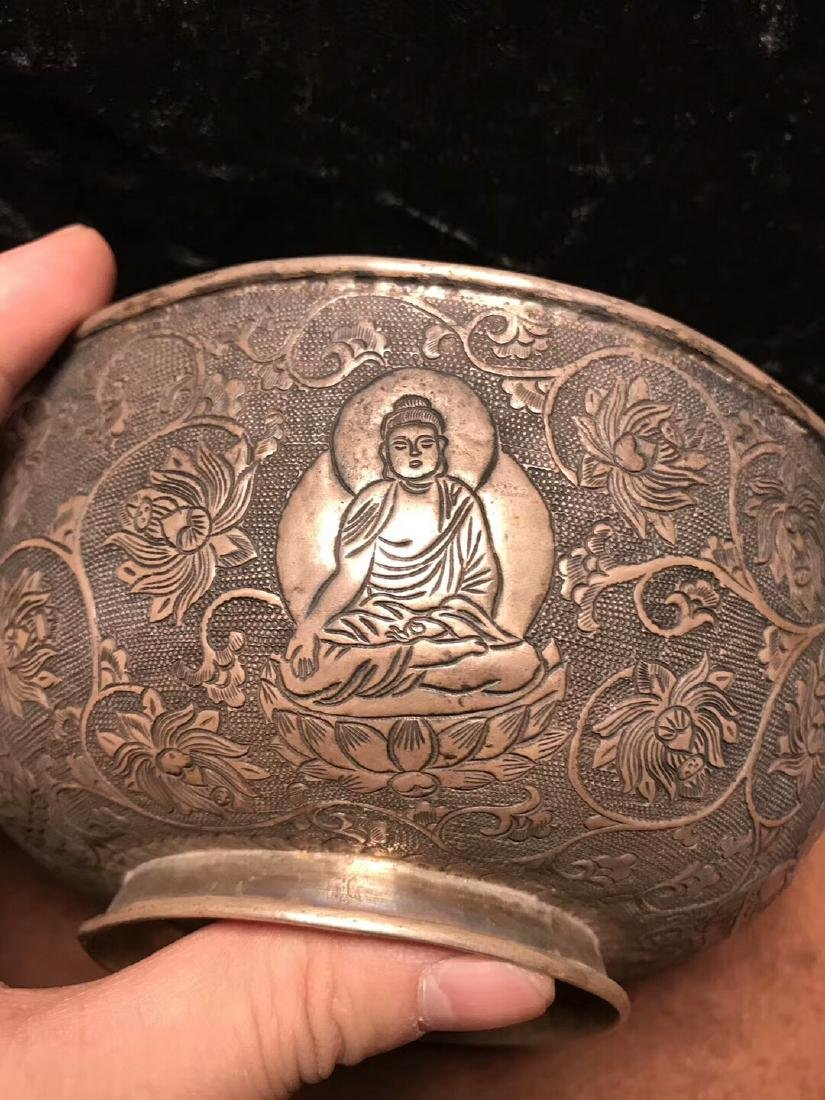 Qing Dynasty,For Buddha,Pure Silver Bowl Carve Engraves - 6