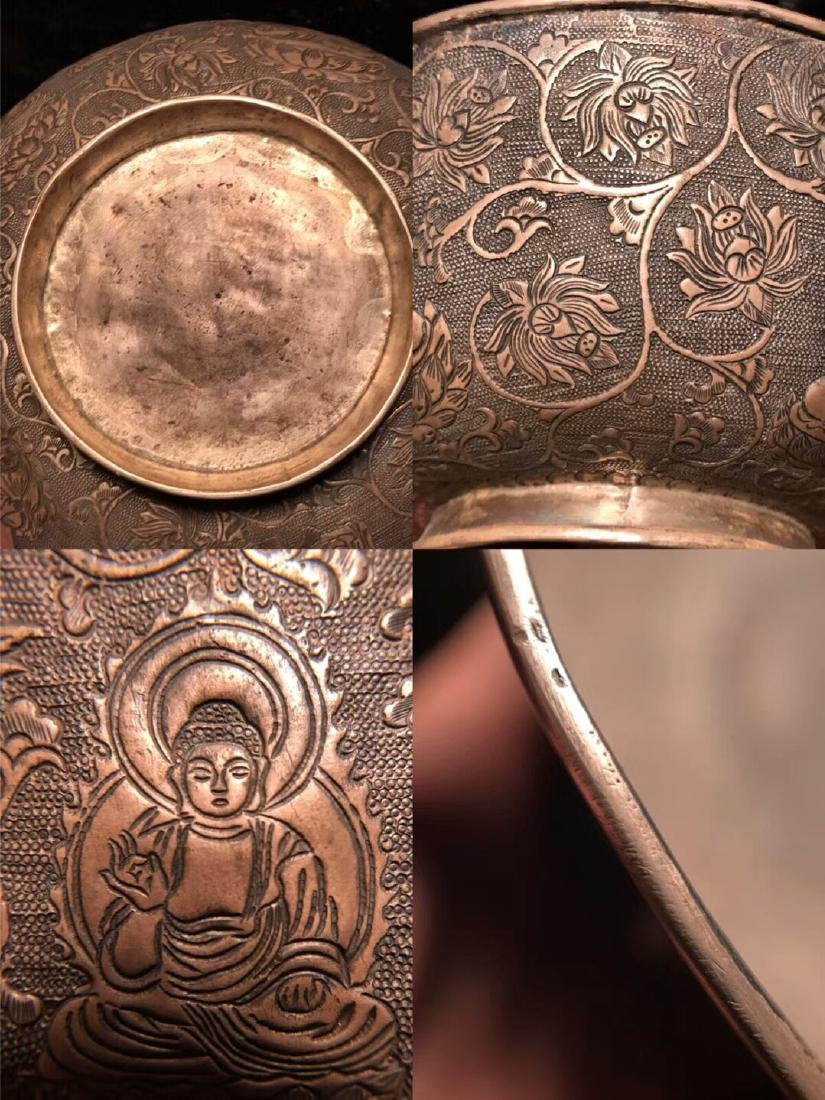 Qing Dynasty,For Buddha,Pure Silver Bowl Carve Engraves - 9