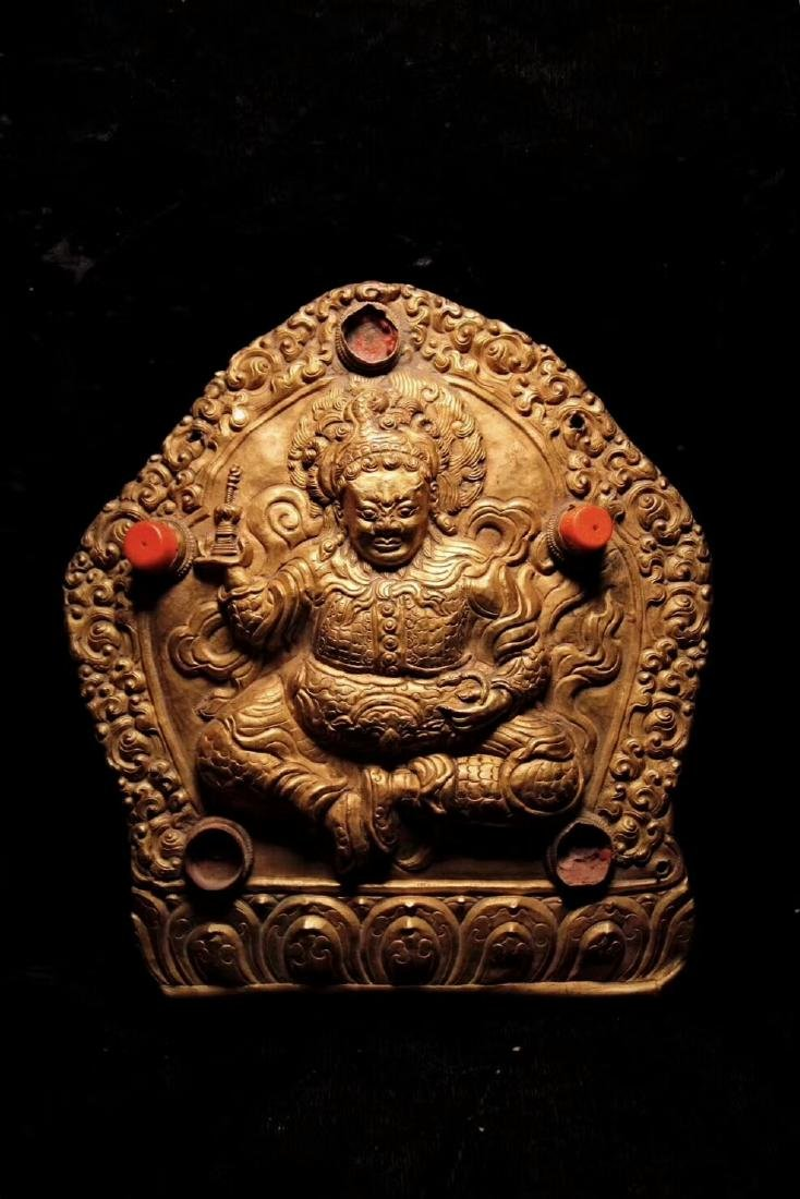 Qing Dynasty Tibetan Gilt Copper Hammer Treasure Sakka