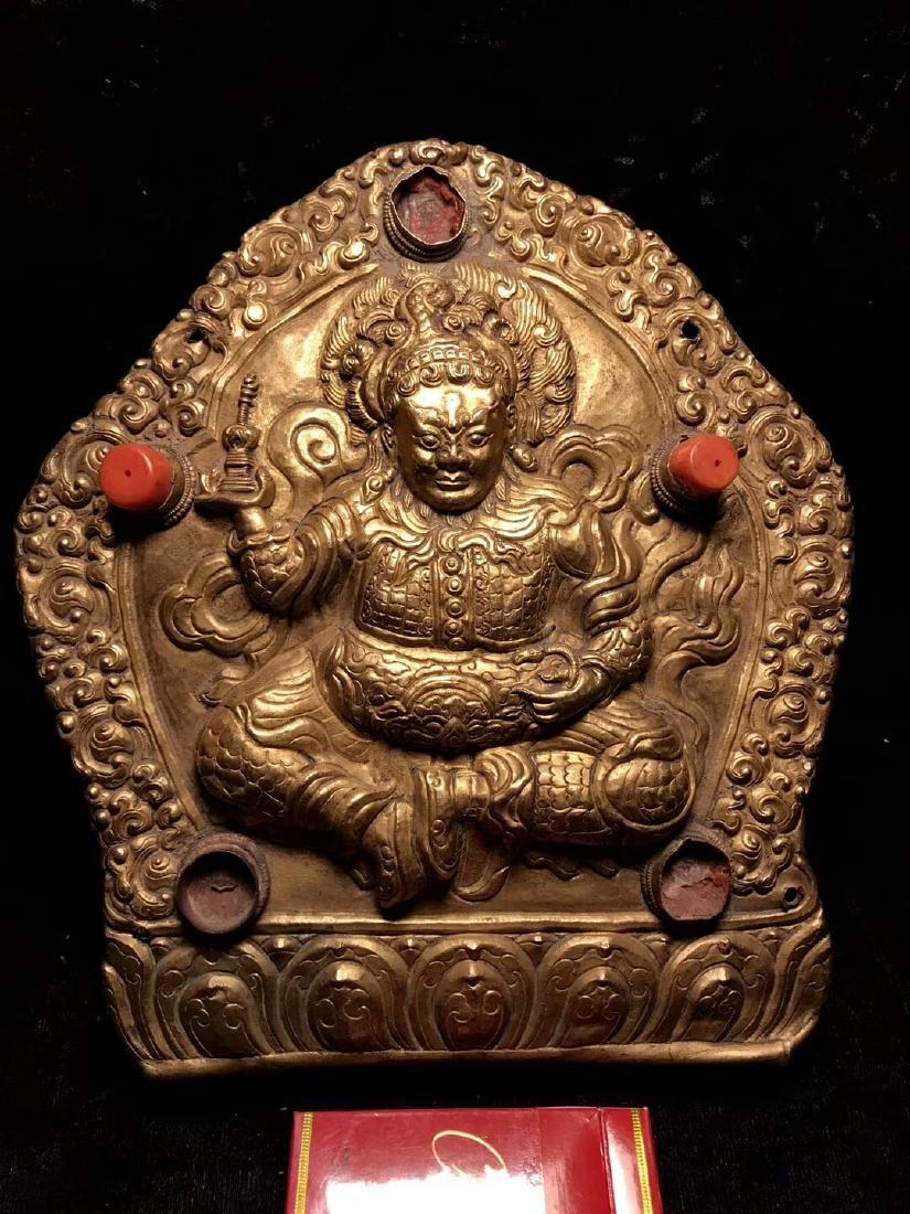 Qing Dynasty Tibetan Gilt Copper Hammer Treasure Sakka - 2