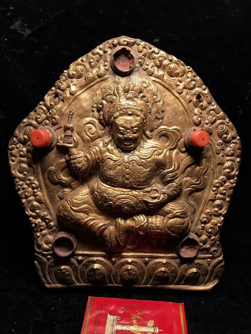 Qing Dynasty Tibetan Gilt Copper Hammer Treasure Sakka - 3