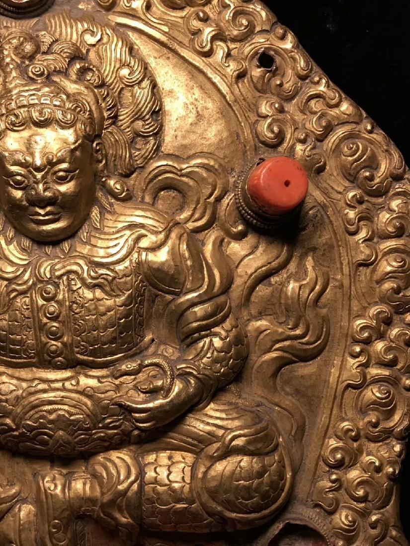 Qing Dynasty Tibetan Gilt Copper Hammer Treasure Sakka - 6