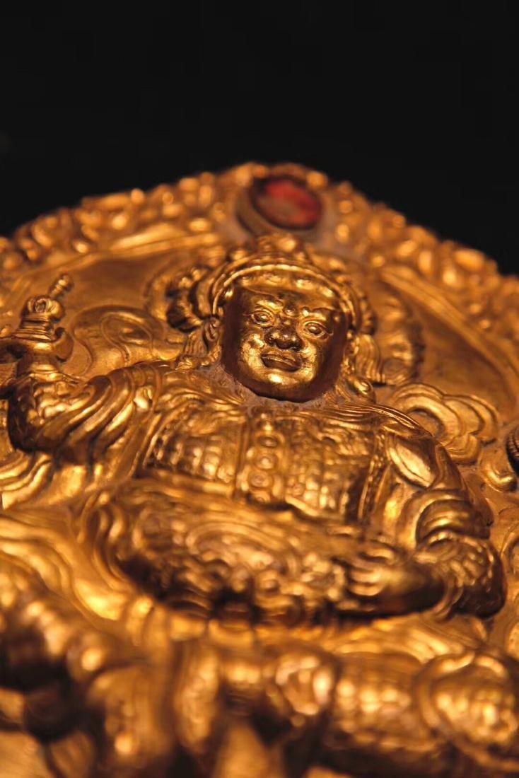 Qing Dynasty Tibetan Gilt Copper Hammer Treasure Sakka - 7