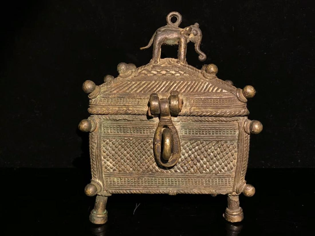 Qing Copper Box On Buddhist Altar