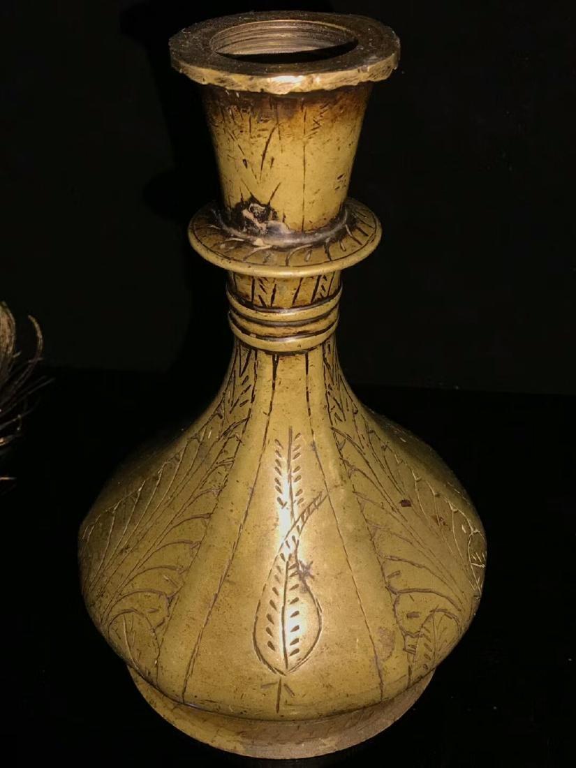 Ming Dynasty Lima Brass Flower Bottle - 4