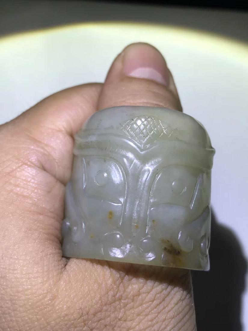 Qing Hetian Jade Thumb Ring - 2