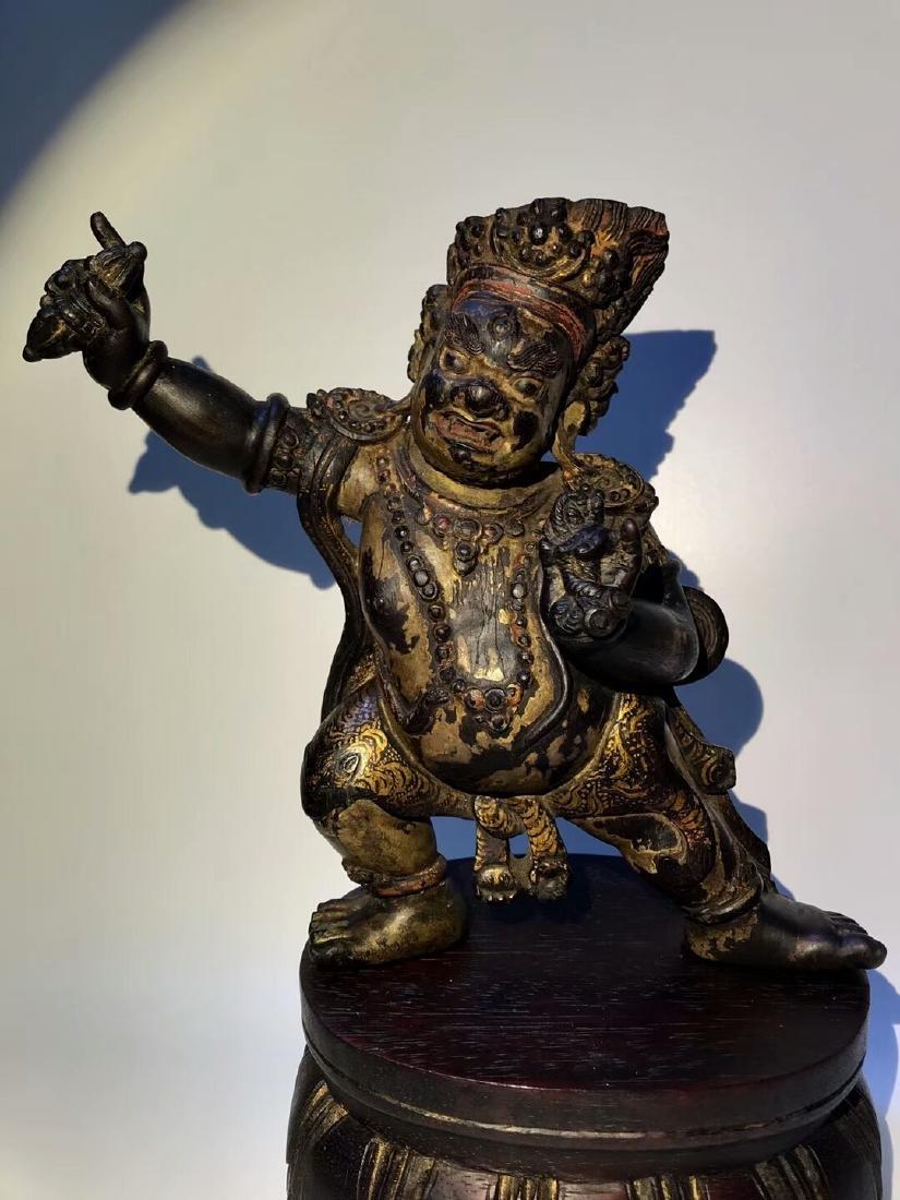 Qing Tibetan Zitan Wood King Kong Hand Bodhisattva