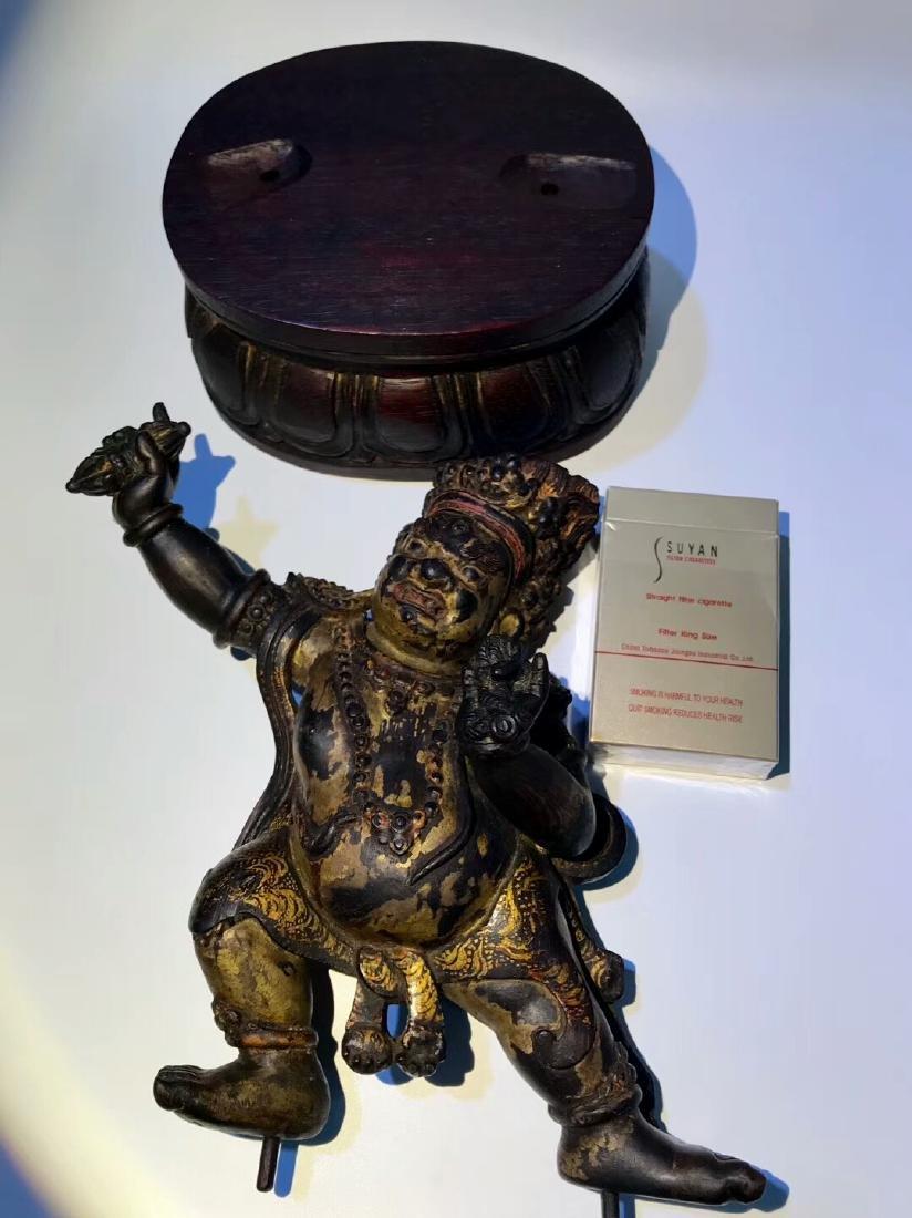 Qing Tibetan Zitan Wood King Kong Hand Bodhisattva - 5