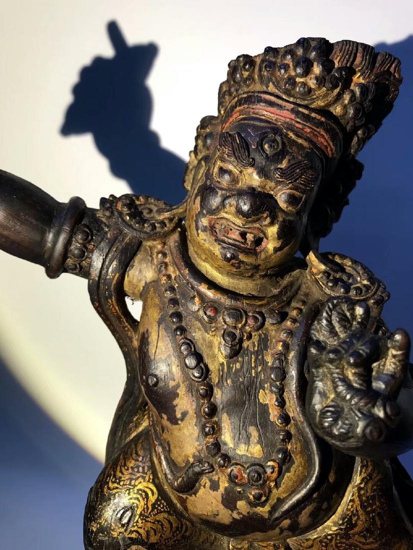 Qing Tibetan Zitan Wood King Kong Hand Bodhisattva - 6
