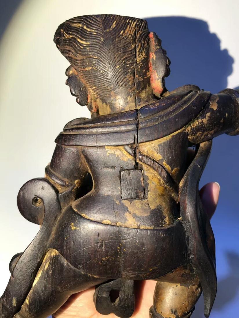 Qing Tibetan Zitan Wood King Kong Hand Bodhisattva - 8