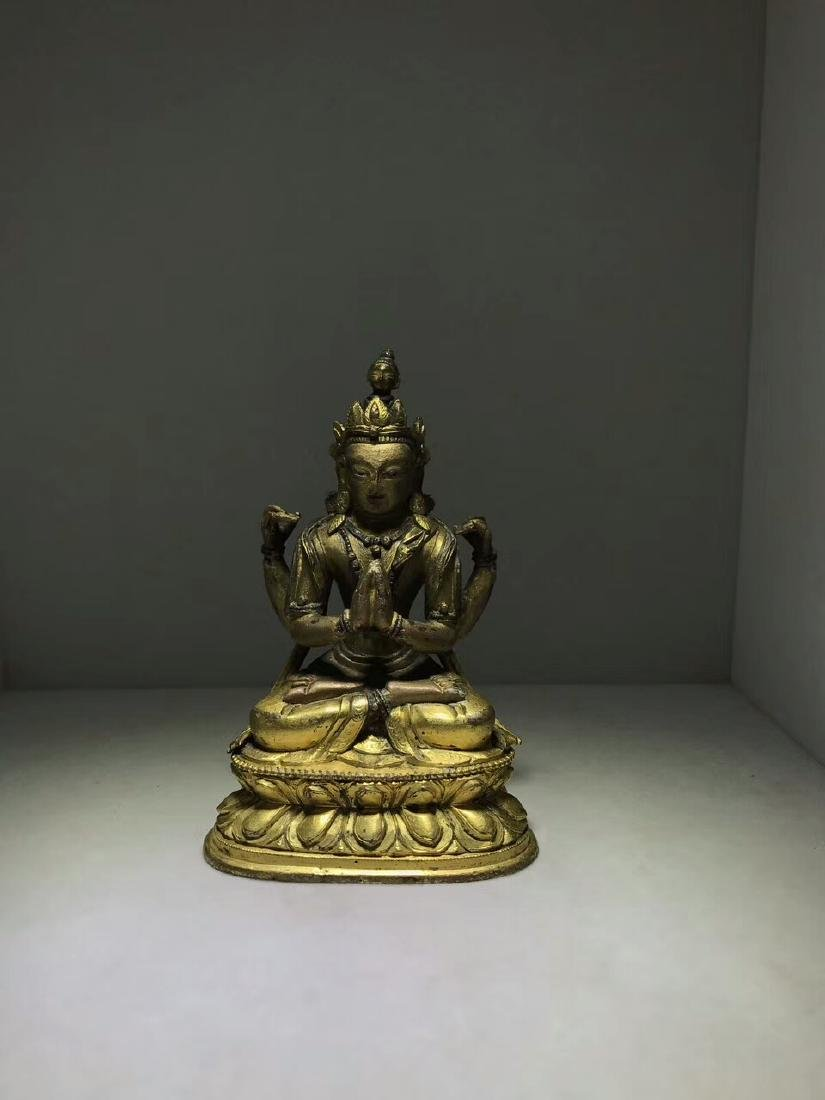 Qing Dynasty Gilt Four Arms Guanyin