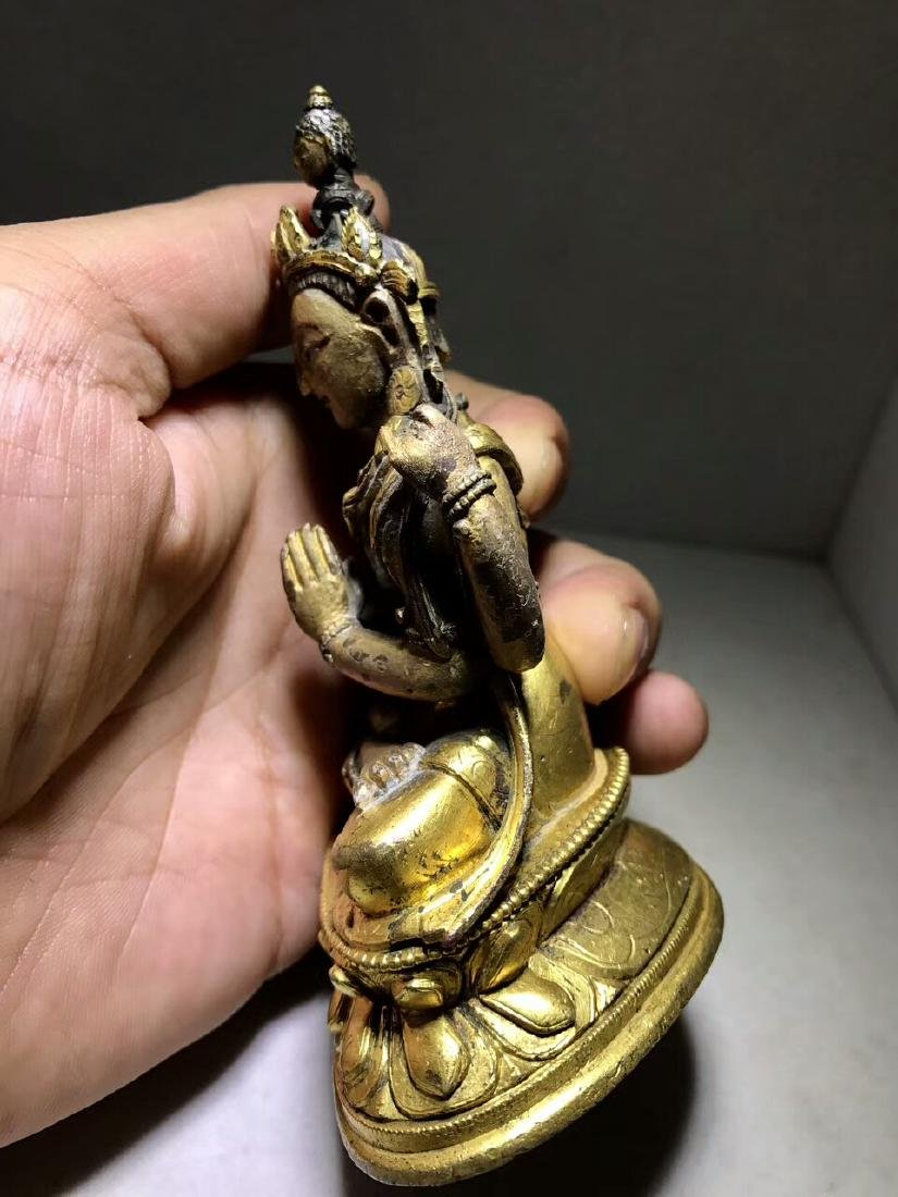 Qing Dynasty Gilt Four Arms Guanyin - 3