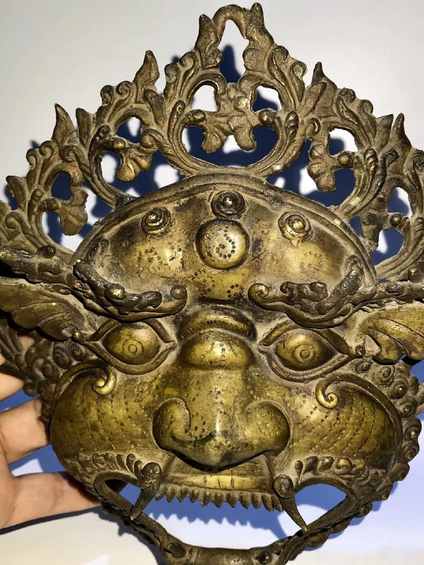 Qing Dynasty Tibetan Protective Copper Mask
