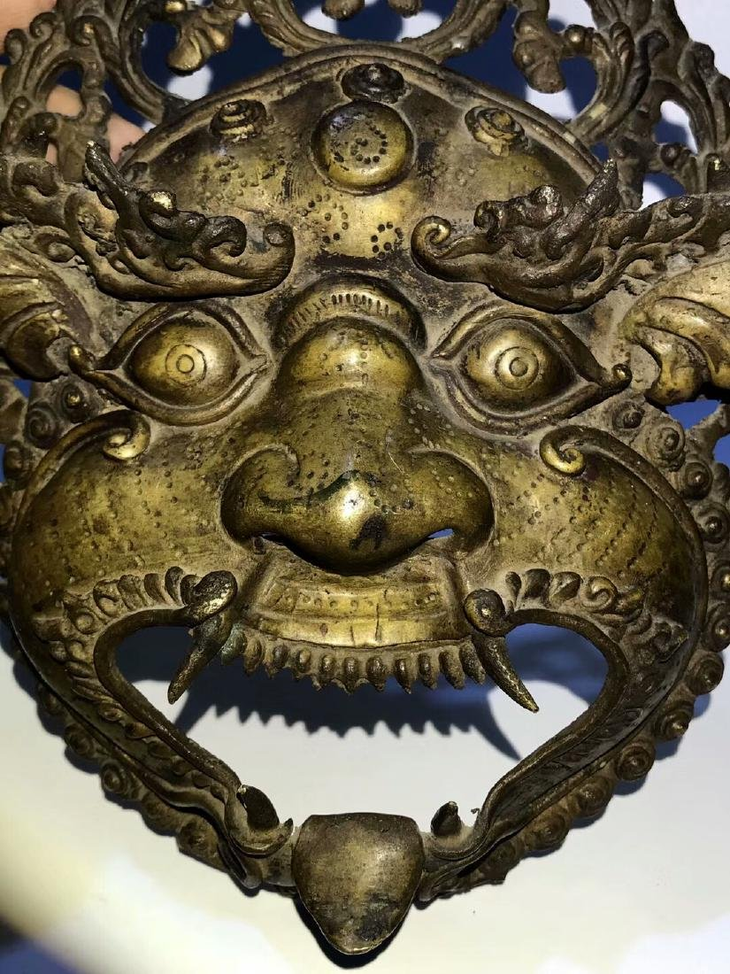Qing Dynasty Tibetan Protective Copper Mask - 3