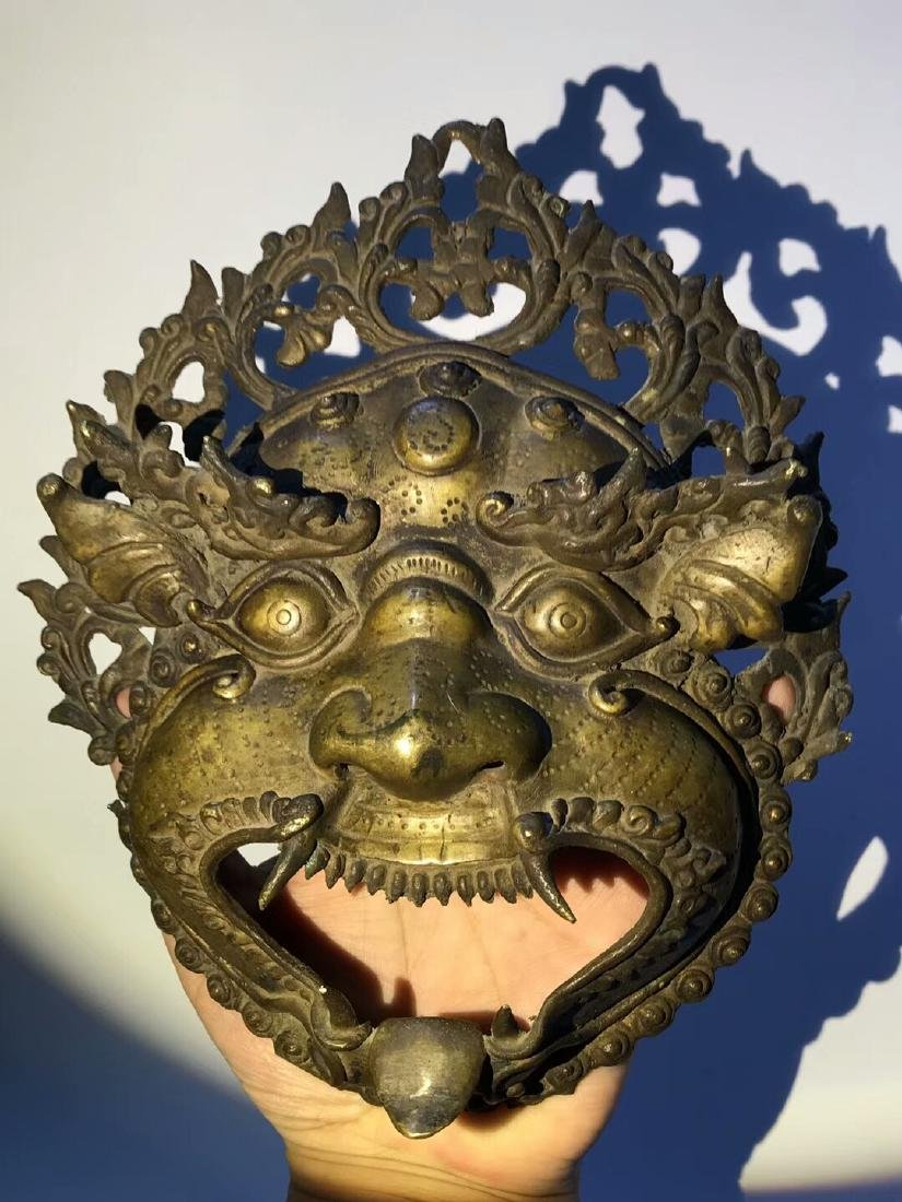 Qing Dynasty Tibetan Protective Copper Mask - 5