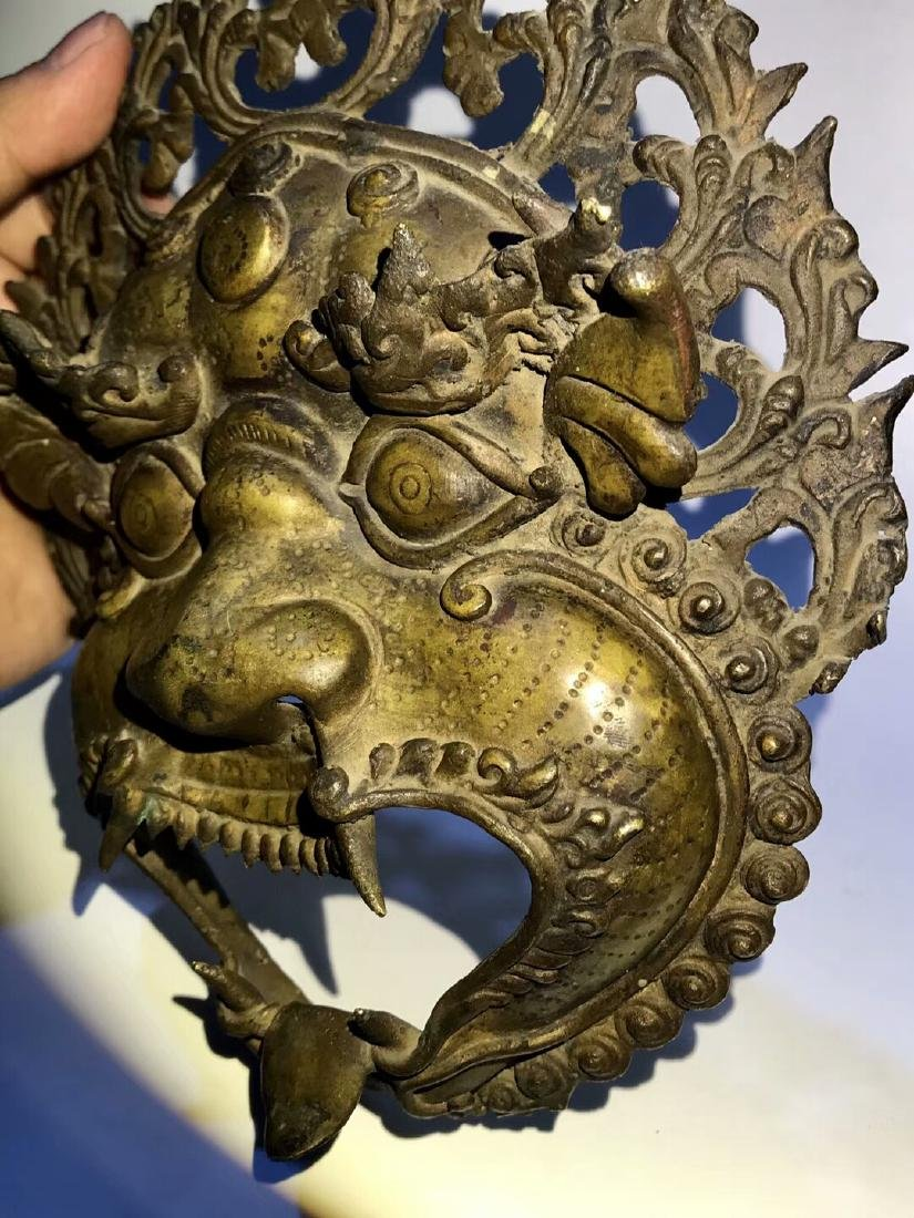 Qing Dynasty Tibetan Protective Copper Mask - 6