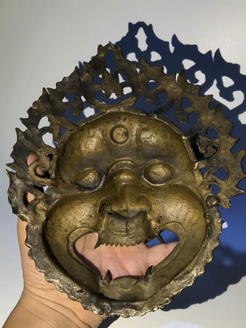 Qing Dynasty Tibetan Protective Copper Mask - 7