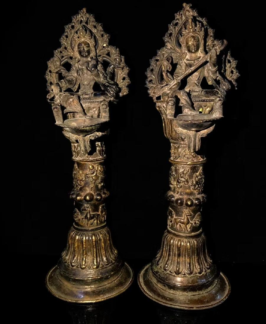 18th Century High Base Buddha Mother Oil Lamps