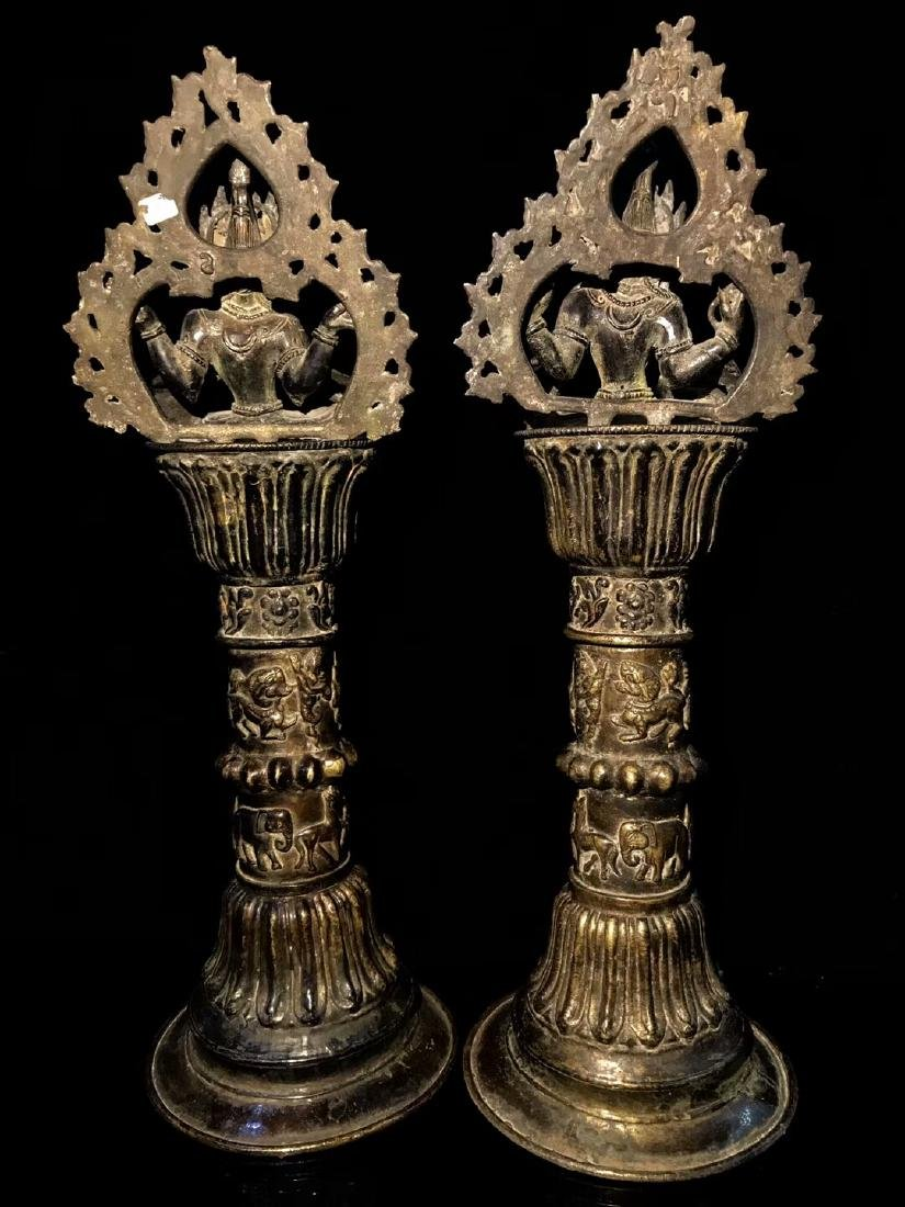 18th Century High Base Buddha Mother Oil Lamps - 2