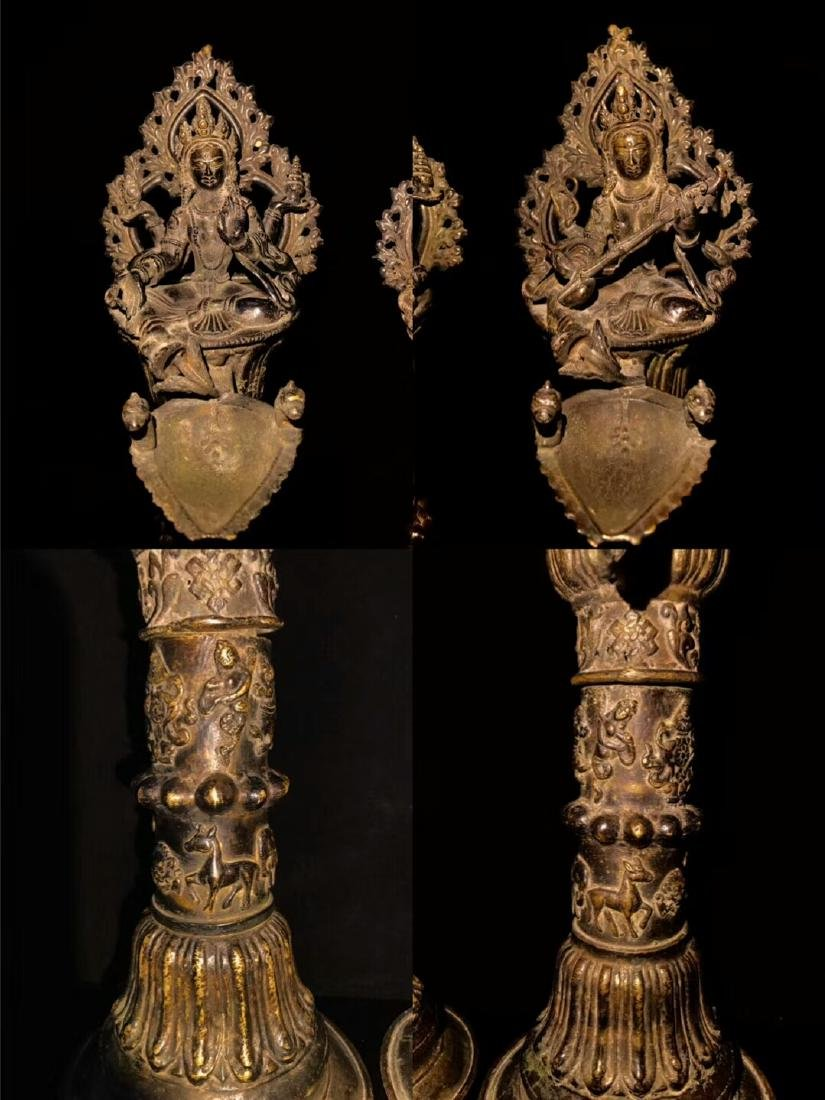 18th Century High Base Buddha Mother Oil Lamps - 3