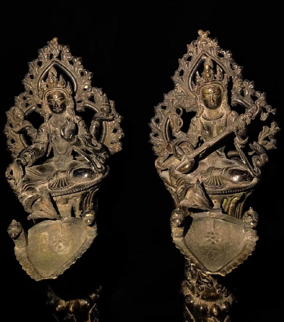 18th Century High Base Buddha Mother Oil Lamps - 6