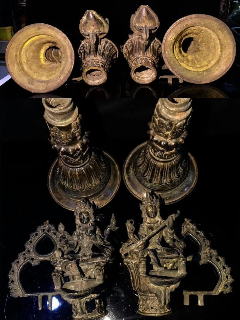 18th Century High Base Buddha Mother Oil Lamps - 7