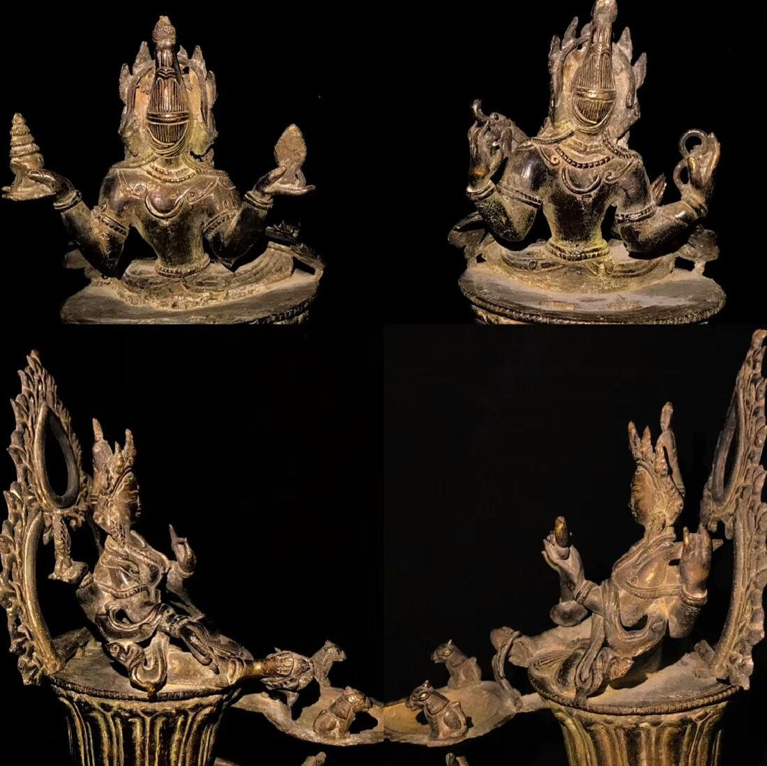 18th Century High Base Buddha Mother Oil Lamps - 8