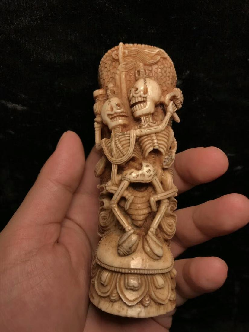 A Nice Tibetan Old Ox Bone Carving - 2